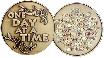 one day at a time - serenity prayer coin pair